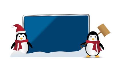 XMAS Pinguine *** Schild blanko
