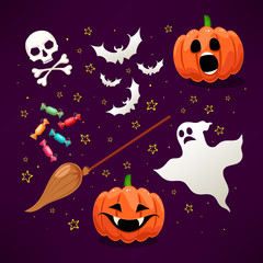 Set of cute icons for Halloween - 1
