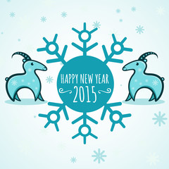 Happy new year 2015! Year of goat. Vector Illustration