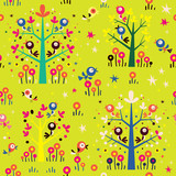 birds in the trees nature forest seamless pattern - 69437261
