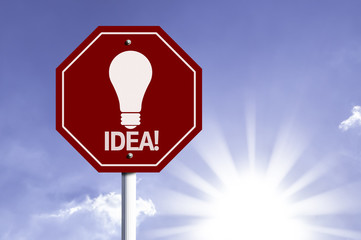 Idea! red sign with sun background