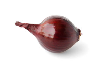 Red onion over on white background.