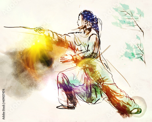 Deurstickers Vechtsport Taiji (Tai Chi). An full sized hand drawn illustration