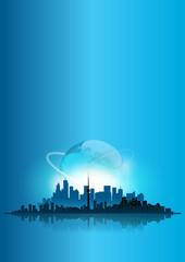 città, skyline, metropoli, mare, pianeta