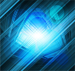 Virtual technology vector blue background burst light