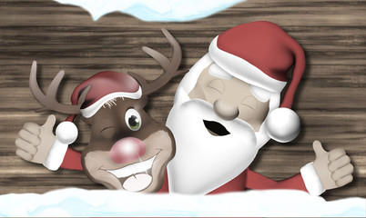 Santa and Reindeer Happy