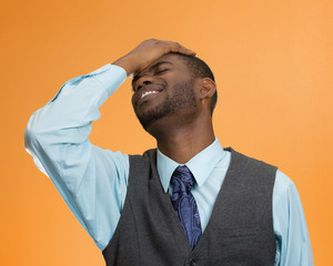 Man realizes mistake, stressed, regrets wrong doing