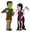 Halloween couple, Frankenstein and Death ,Isolated