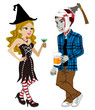 Halloween couple,Witch and undead,Isolated