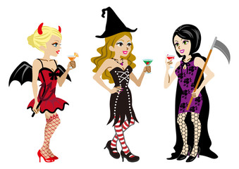 Halloween Costumed three Women,Isolated