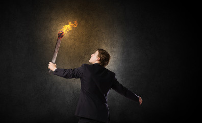 Man with torch