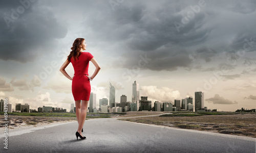 canvas print picture Woman in red