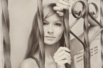 Beautiful young pretty model girl woman sepia vintage retro