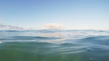 Ocean Surface, Half Under Half Over Slow Motion Video