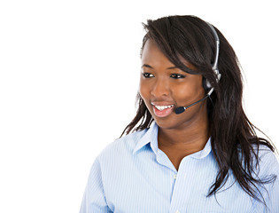 Female customer service representative with hands free device