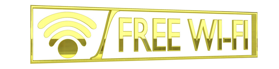glossy gold free wifi icon - 3D render isolated on white