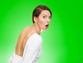 Scared, afraid, woman full fear on run, looking behind shoulder