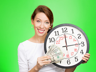 Time is money concept, businesswoman with clock and cash