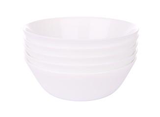 Five round ceramic bowls stack on white background.