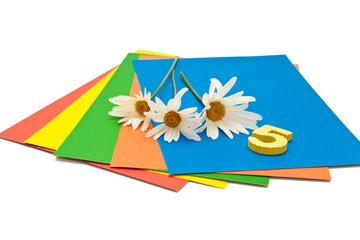 Цветная бумага и ромашки на белом фоне