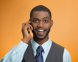 Happy business man, young guy talking on mobile phone smiling