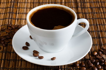 natural black coffee in a white cup