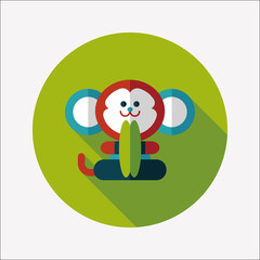 monkey toy flat icon with long shadow,eps10