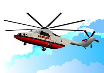 Ambulance helicopter. Vector illustration