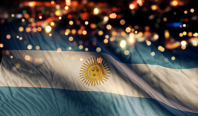 Argentina National Flag Light Night Bokeh Abstract Background