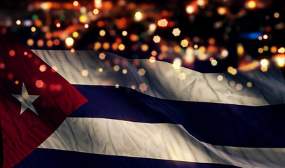 Cuba National Flag Light Night Bokeh Abstract Background