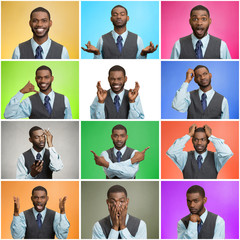 young man expressing different emotions, mood swings