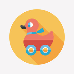duck toy flat icon with long shadow,eps10