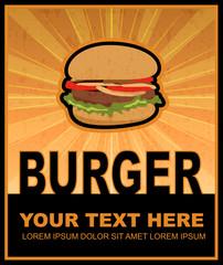 Burger grunge retro poster