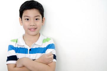 Portrait of little asian cute boy with blank space