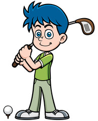 Vector illustration of young golf player