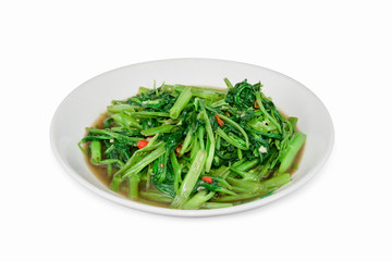 Stir Fried Water Spinach or pak boong fai daeng isolated on whit