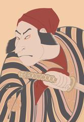 東洲斎写楽 二代目中村仲蔵の百姓つち蔵、実は惟高親王のイラスト