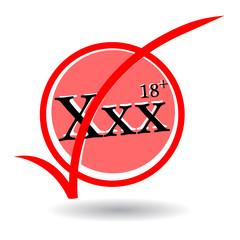 XXX text and eighteen plus icon on white background