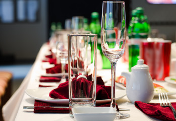 Formal stylish setting on a dinner table
