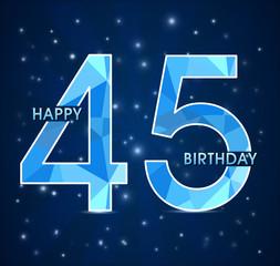 45 year birthday, 45th anniversary polygon emblem