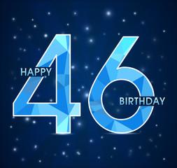 46 year birthday, 46th anniversary polygon emblem