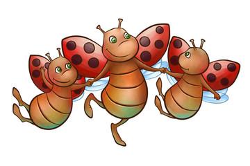 happy flying ladybug