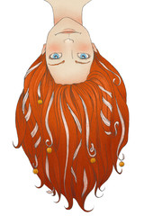 redheaded girl with long hair, tapes and little bells