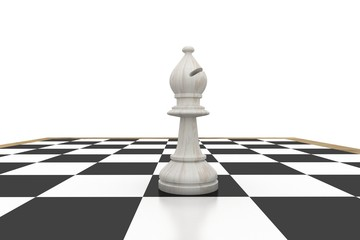 White bishop on chess board