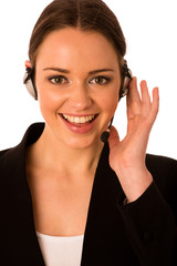 Preety happy asian caucasian business woman with headset