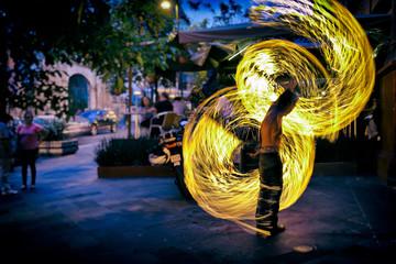 Fire Dancer Street Performer in Cuernavaca, Mexico