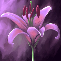 digital panting flower lily purple