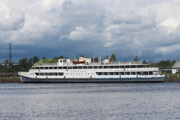 Motor ship Korolenko in the Gulf Salakka-Lahti, Vyborg city.