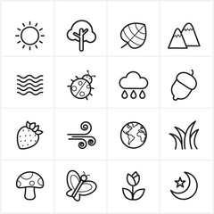 Flat Line Icons Nature and Tree Icons Vector Illustration