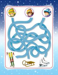 Christmas exercise - maze - illustration for the children